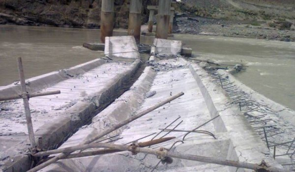 Under-construction bridge in Hunza Collapsed